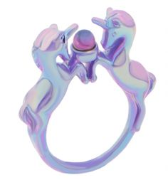 Iridescent Lilac Nineties Unicorn Ring From Me & Zena : TruffleShuffle.com