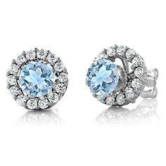 1.29 Ct Round Sky Blue Aquamarine Gemstone 925 Silver Stud Earrings with Jackets