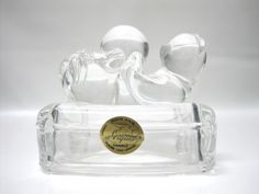 Crystal d'Argues 24% Genuine Lead Crystal France Cat on Back with Ball #CrystaldArgues