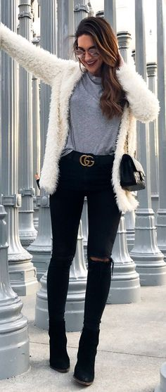 #winter #fashion /  White Faux Fur Coat / Black Ripped Skinny Jeans / Black Booties / Grey Top