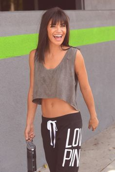 A loose crop top and tie up sweats make a perfect outfit for a casual day out or to hit the gym!