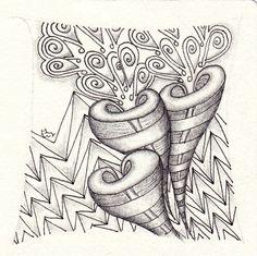 Ein Zentangle aus den Mustern Loev, Seta, Zixts,  gezeichnet von Ela Rieger, CZT