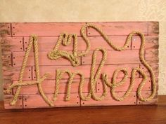 Country girl sign. Baby Shower gift.Girls Country room. Western GIrl Pink Name Sign Country Rope Name by MemoryScapes, $70.00