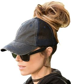 94351d8344a BOEKWEG The Original Ponytail Hat. Fashionable hats made for ponytails.  (Distressed Black Mesh) at Amazon Women s Clothing store