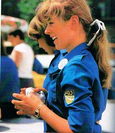 "Mädchen in blauer FDJ Bluse ---- girl dressed in the blue blouse of the ""Freie Deutsche Jugend"" ( #GDR )"