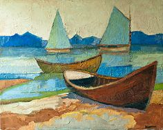 """""""Four Boats""""  24"""" x 30""""  by David Lazarus"""