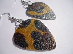 Upcycled Giraffe Gift Card Guitar Pick Earrings by thejewelrydream, $6.99