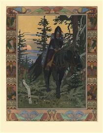 """Illustration for the fairy tale """"Vasilisa the Beautiful"""" - Ivan Bilibin"""