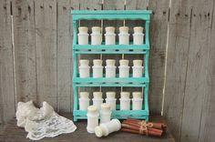 Spice Rack, Spice Cabinet, Spice Jars, Hazel Atlas, Milk Glass, Shabby Chic, Aqua, Hand Painted, Beach Decor, Kitchen Storage, Organization