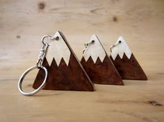 $9.37 - Wooden keyring  keychain  key fob. Mountains. Covered on both sides by real wood veneers. Snow capped mountain design.