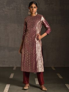 Brocade Suits, Silk Suit, Silk Brocade, Kurti Neck Designs, Kurti Designs Party Wear, Blouse Designs, Lehenga Designs, Punjabi Dress, Saree Dress
