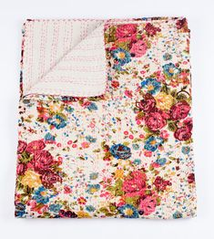Handmade floral twin bed cover or blanket made entirely by hand using 100% natural cotton. This blanket has been featured all over Pinterest and on a ton