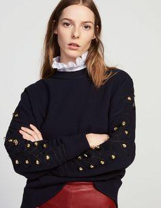Sweat coton mélangé manches travaillées - T-shirts - Sandro Paris Sandro Paris, Pullover, Winter Collection, Pulls, Winter Outfits, Autumn Fashion, Style Inspiration, Sweatshirts, My Style
