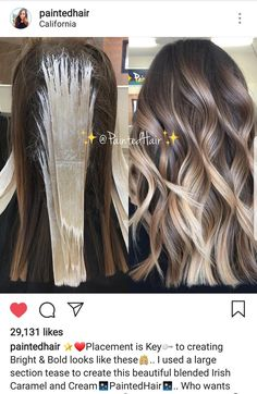 The ombre hair trend has been seducing for some seasons now. More discreet than tie and dye, less classic than sweeping, this new technique of hair. Ombre Hair Color, Hair Color Balayage, Hair Highlights, Brunette Color, Blonde Balayage, Hair Colors, Love Hair, Gorgeous Hair, Beautiful