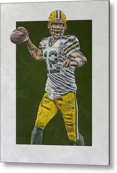 67007479e Aaron Rodgers Metal Print featuring the mixed media Aaron Rodgers Green  Bay… Sports Drawings