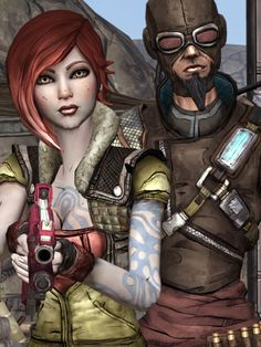 Borderlands : Lilith & Mordecai aka Me and Austin! Lilith Borderlands, Borderlands Series, Mad Max, Redhead Characters, Handsome Jack, Beautiful Dark Art, Modern Games, Video Game Characters, Best Games