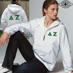 Sigma Delta Tau Clothing, Apparel, Merchandise, and Gifts Charles River, Custom Greek Apparel, Sorority Outfits, Delta Zeta, Greek Clothing, Hooded Jacket, Windbreaker, Pullover, My Style