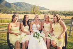 Pretty maids share a moment with the bride at a country chic #MontanaWedding ! Springhill Pavilion, Bozeman. Notarius Photography