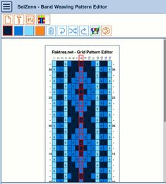 Raktres.net/seizenn version 2 - band weaving pattern editor Inkle Weaving, Inkle Loom, Weaving Patterns, Band, Editor, Loom, Sash, Loom Patterns, Bands