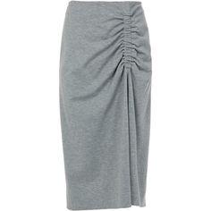 Tibi Bond Stretch Knit Shirred Skirt ($295) ❤ liked on Polyvore featuring skirts, heather grey, calf length skirts, ruched skirt, back zipper skirt, tibi and midi skirts