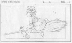 "Storyboard of Kiki rides her broom with Jiji and radio from ""Kiki's Delivery Service"""