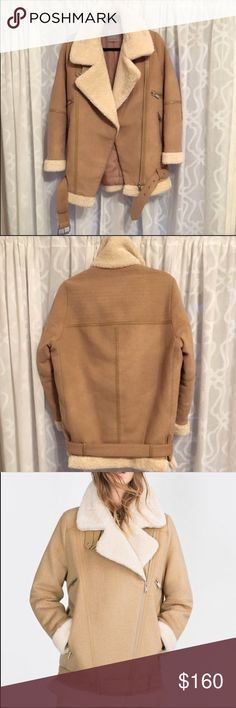 NWT Zara Women's Faux Shearling Moto Jacket/Coat! New with tags! Makes a perfect gift even for after Christmas lol. I haven't worn it and won't as I'm moving to a warmer area. Let me know if you have any questions! Please go ahead and make an offer :) Zara Jackets & Coats
