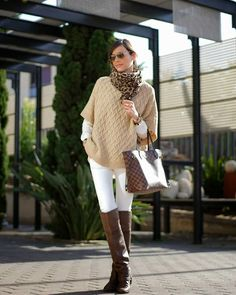 Camel Knit Cape and White skinny Jeans