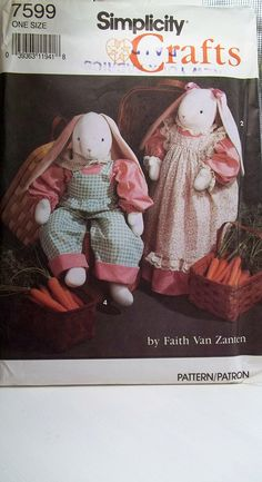 Bunny Doll and Clothing Simplicity 7599 Craft Sewing Pattern Stuffed Bunny Doll, Fiberfill Soft Sculpture, Petticoat, Overalls, Dress Sewing Toys, Sewing Clothes, Sewing Crafts, Sewing Projects, Craft Patterns, Sewing Patterns, Pattern Ideas, Rabbit Toys, New Dolls