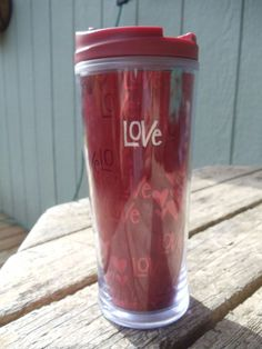 Starbucks 2009 Red Love Hearts Coffee Tea Travel Thermo Tumbler 8 oz  #StarbucksCoffee