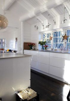 Love the lights above the sink,windows,the whole feel of this space