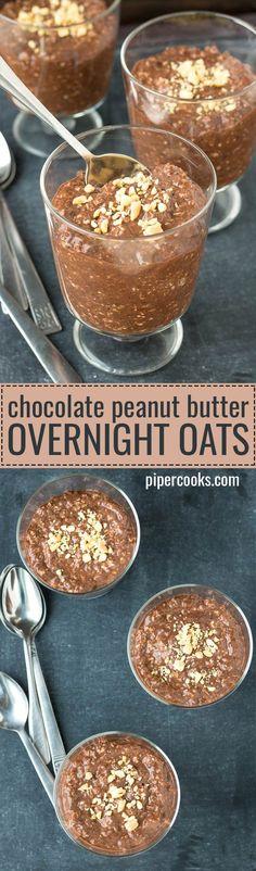 Chocolate Peanut Butter Overnight Oats - PiperCooks.com #overnightoats #oats #peanutbutter
