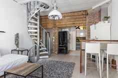 Divided into three levels this compact and characteristic apartment in Turku, Finland, offers 63 square meters of living space full of catchy little details Interior Design Elements, Decoration Inspiration, British Colonial, Wooden House, Scandinavian Style, Osaka, Living Room, Bed, Furniture