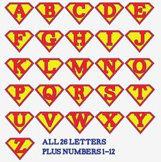 For a banner! Superman alphabet letters and numbers - make a super hero birthday party banner, front door decoration, birthday iron-on t-shirt, whatever you wish! Superman Birthday Party, Boy Birthday, Birthday Parties, Birthday Door, Alphabet Birthday, Vintage Birthday, Birthday Ideas, Superhero Classroom, Superhero Party