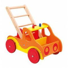 Lelger loopwagen brandweer. Met rubberbanden en genoeg plaats voor speelgoed en blokken.