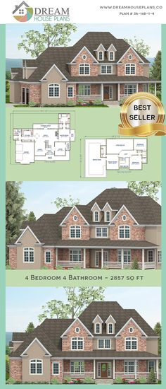 house plan with cust. - House Plans, Home Plan Designs, Floor Plans and Blueprints Porch House Plans, Dream House Plans, Custom Home Plans, Custom Homes, Affordable House Plans, Simple House Plans, Unique Architecture, Plan Design, Great Rooms