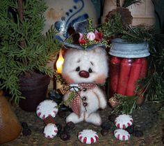 "Primitive Frosty Snowflake Christmas Ornie 5"" Snowman Doll ★ Vtg Patti's Ratties   eBay"