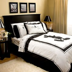 Sophisticated Mickey Bedroom...Love the Bed and the Blanket - want this for my bedroom