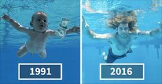 El bebé de la icónica portada de Nirvana recrea la fotografía 25 años después