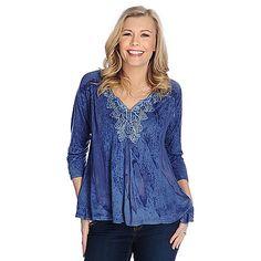 730-488 - One World Knit & Woven Pigment-Dye 3/4 Sleeve Swing Top