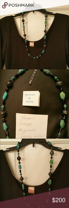 Necklace (Auth. Stones & SS) Never worn gorgeous necklace purchased from original jewelry designer, Jay King.  This one of a kind piece is made of Jasper, Turquoise, Onyx, and Sterling Silver.  EXCELLENT Gift Piece for the holidays or just to show someone you appreciate them.  Item listed comes in black jewelry bag as shown in listing and is made of authentic stones and sterling silver.  This is absolutely beautiful!!!!!  (Shirt in this listing is not included but maybe purchased separately)…