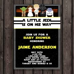star wars baby shower invitation, customized wording included, printable invitation, star wars theme baby shower by AmysDesignShoppe on Etsy https://www.etsy.com/listing/226644872/star-wars-baby-shower-invitation