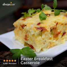 "Easter Breakfast Casserole | ""Yum. This was a big hit for Easter brunch, layered the potatoes, crunchy bacon, eggs and onion with cheese. The cheese stayed on top, but the eggs will puff up in the oven. Added a fruit salad, bread, and brunch is done."" http://allrecipes.com/recipe/easter-breakfast-casserole/Detail.aspx"
