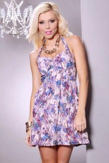 Blue Multi Floral Print Halter Pocket Mini Dress