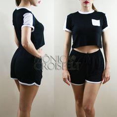 Conjunto Esporte, Cropped preto com bolsinho e recortes + Short Preto Cintura Alta #moda swag #fashion