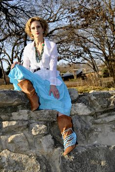 As cowgirl-ish as I get, even in Texas. BabyBoomer Pamela modeling.
