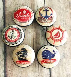 Handmade Nautical Knobs Drawer Pull Set 6 by SRVintageandDesigns Knobs And Pulls, Drawer Pulls, Kitchen Cabinet Knobs, Dresser Knobs, Pebble Art, Etsy Vintage, Nautical, Drawers, Vintage Fashion