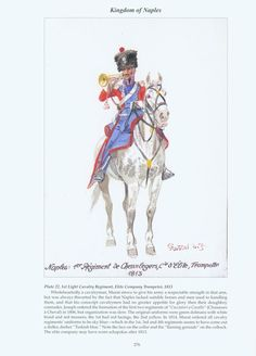 Light Cavalry Regiment, Elite Company Trumpeter, 1813 by H. Kingdom Of Naples, Kingdom Of Italy, Italian Army, French Empire, Napoleonic Wars, Dark Skies, Military History, Troops, Military Uniforms