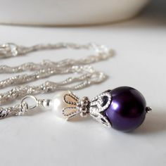 Bridesmaid Jewelry Dark Purple and Ivory Pearl by FiveLittleGems
