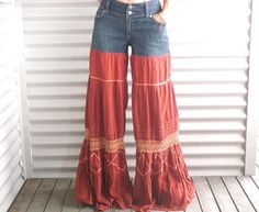 Bellbottom jeans upcycled flared rust cotton by immortalkraft, $45.00