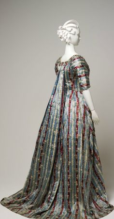 1770s open robe made from French silk brocade, England